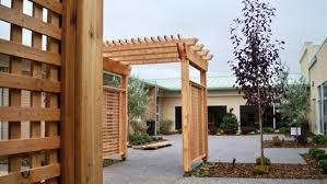 pergola with trellis church courtyard with arbor pergola u0026 trellis calgary ab