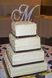 rhinestone monogram cake topper ivory black with sparkling cake topper