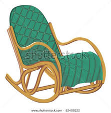 of a padded rocking chair in a vector clip art illustration