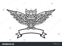 owl bird tribal style tattoo logo stock vector 245709880