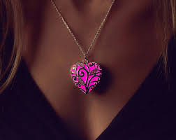 glow in the necklaces locket glowing necklace heart locket gift steunk