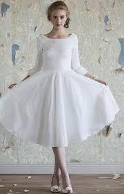 ivory lace tea length fall wedding dress with half sleeves