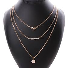short chain pearl necklace images Newest design women 18k gold plated boho multilayer short chain jpg