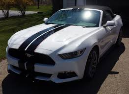 ford mustang gt white stripes matching mustang rally stripes installed on the roof and