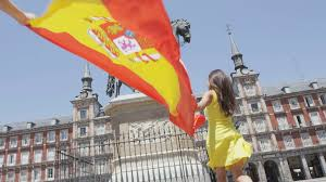 Flag People Spanish Flag People Cheering Celebrating Showing Spain Flag In
