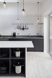dark gray white kitchen ideas white pattern backsplash white
