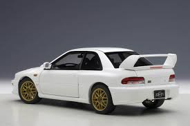 subaru sedan white subaru impreza 22b white upgraded version limited 1500pcs 1 18