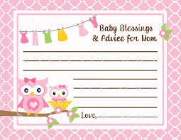 7 best images of mom advice cards free printable owl baby shower