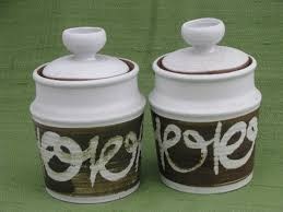 kitchen counter canister sets retro 70s vintage stoneware pottery canister jars kitchen counter