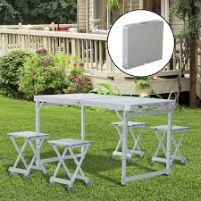 Portable Folding Picnic Table Outsunny 4 Portable Folding Picnic Table With 4 Seats Aluminum