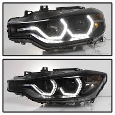 bmw headlights 15 bmw 3 series f30 halo led drl projector headlights black smoked