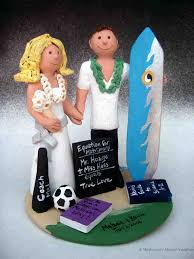 wedding cake topper surfer fimo wedding cake topper bride and