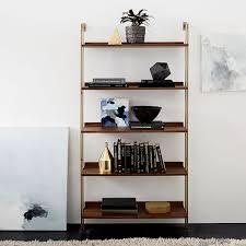 linden mid century wide shelf unit walnut blackened brass mid