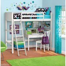 twin bunk loft bed over desk with ladder kids teen bedroom white
