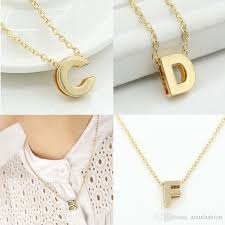gold letter pendant necklace images Wholesale small letters pendant necklace gold color initial jpg