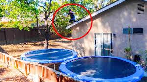 Trampoline Backyard Dangerous Backyard Trampoline Park Roof Jump Gone Wrong