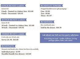 nothing bundt cakes menu menu for nothing bundt cakes
