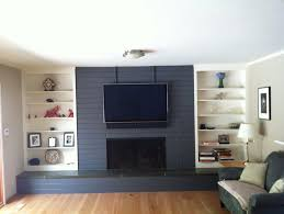 grey painted brick fireplace home design ideas