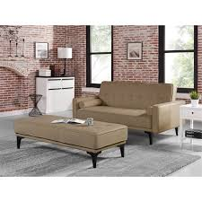 ls that hang over couch relaxalounger joy convertible sofa with ottoman in medium brown ls