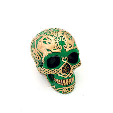 green celtic skull with gold celtic design gothic home decor