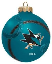 san jose sharks nhl hockey glass ornament