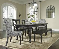 bench dining table with 2 benches sharlowe charcoal rectangular