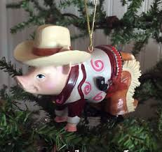 cowboy pig country western ornament for crafts or