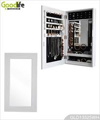 Mirrored Storage Cabinet Wall Hanging Wooden Mirrored Jewelry Storage Cabinet