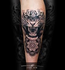 tiger portrait mandala black and grey tattoo steve toth steve