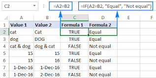 excel compare strings in two cells for case insensitive or exact