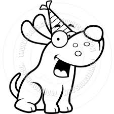 cartoon dog birthday party black and white line art by cory