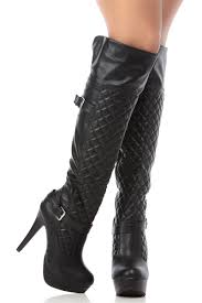 s knee boots on sale black faux leather quilted knee high platform boots cicihot