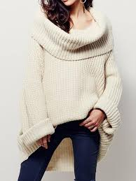 sweater with solid chunky cowl neck sweater with curved hem whatsmode