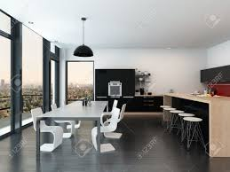 modern open plan kitchen and dining room interior decor with