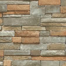 8 in x 10 in multi color ledge stone wallpaper sample grays