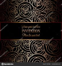 Wallpaper Invitation Card Abstract Background With Roses Luxury Black And Gold Vintage