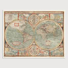 antique map world world antique map print 1626 blue monocle