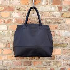 Handmade Leather Tote Bag - large black tote handmade leather bag by vank design