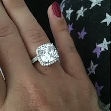 5 engagement ring carat cushion cut cz engagement ring bridal set