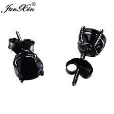 aliexpress buy junxin new arrival black junxin new lover s black gold earring geometric design 925