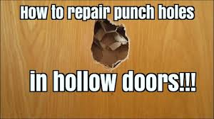 how to repair punch holes in hollow doors youtube