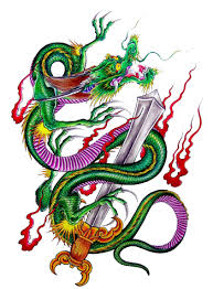 traditional coloured dragons in fire tattoo design tattooimages biz