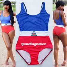 Flag One Piece Swimsuit Haitian Flag One Piece Bathing Suit