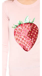 strawberry sweater lyst markus lupfer strawberry sequin sweater in pink