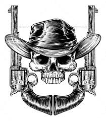 skull cowboy hat and guns by krisdog graphicriver