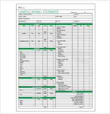 bid estimate template 6 landscaping estimate templates free word excel pdf