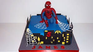 spiderman cake for a special little 5 year old figure is made from