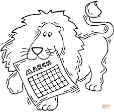 lion holding calendar march coloring free printable
