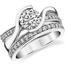 wedding set brilliant bypass moissanite wedding set moissaniteco