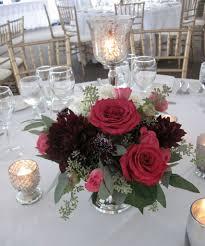 Burgundy Wedding Centerpieces by Burgundy And Raspberry Flowers Silver Bowl Centerpiece Vermont
